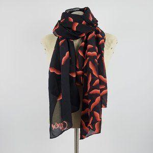 Diane Von Furstenberg Black & Red Lips Scarf